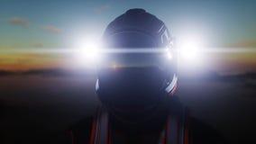 Promenade d'astronaute sur la planète étrangère Martien trouble dessus Concept de la science fiction rendu 3d Images libres de droits