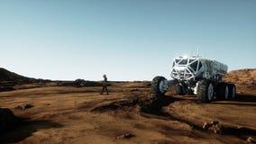 Promenade d'astronaute sur la planète étrangère Martien trouble dessus Concept de la science fiction rendu 3d Illustration de Vecteur