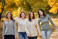 Promenade d'automne d'amies en parc Images libres de droits