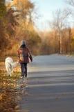 Promenade d'automne avec l'animal familier Photographie stock libre de droits