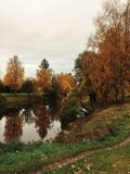Promenade d'automne en parc avec la rivière Photo stock