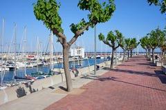 Promenade d'Olimpic de port à Barcelone Image libre de droits