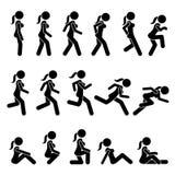 Promenade de base de femme et actions et mouvements courus illustration stock
