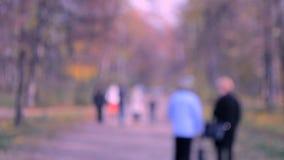 Promenade de beaucoup de personnes en parc Fond brouillé clips vidéos