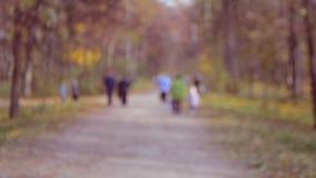 Promenade de beaucoup de personnes en parc Fond brouillé banque de vidéos