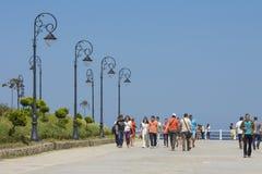 Promenade de bord de mer de casino, Constanta, Roumanie Image libre de droits