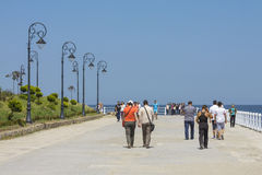 Promenade de bord de mer de casino, Constanta, Roumanie Photographie stock
