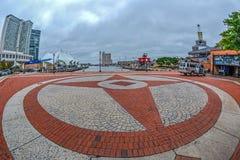 Promenade de bord de mer au port intérieur, Baltimore, Etats-Unis photographie stock