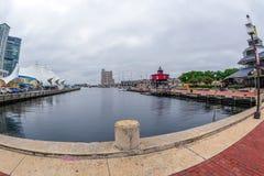 Promenade de bord de mer au port intérieur, Baltimore, Etats-Unis photographie stock libre de droits
