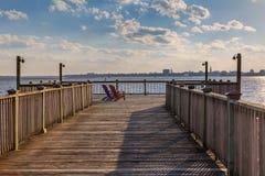 Promenade de Charleston South Carolina Harbor Marina Image libre de droits