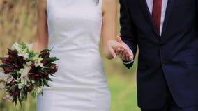 Promenade de couples par un parc tenant le plan rapproché de mains banque de vidéos