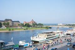 Promenade de Dresde Elbe Images libres de droits