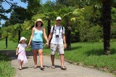 Promenade de famille sur la route dans l'arborétum de Sotchi image libre de droits