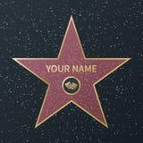 Promenade de Hollywood d'?toile de renomm?e Récompense d'oscar de boulevard de célébrité de film, étoiles de rue de granit des ac illustration libre de droits