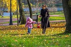 'promenade' de la familia en parque del otoño Imagenes de archivo