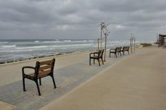 'promenade' de la orilla del mar en una mañana hivernal Fotografía de archivo