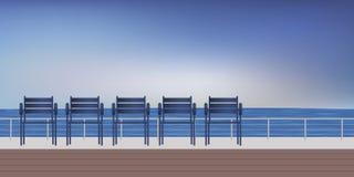 'promenade' de la playa con el asiento a relajarse mirando el mar ilustración del vector