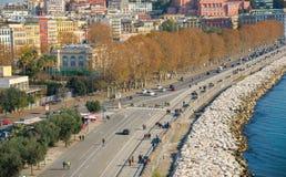'promenade' de Nápoles foto de archivo
