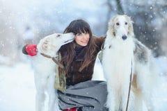 Promenade de Noël La belle femme étonnée en hiver vêtx avec le fond gracieux d'hiver de chiens de lévrier avec la neige, émotions Image libre de droits
