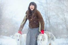 Promenade de Noël La belle femme étonnée en hiver vêtx avec le fond gracieux d'hiver de chiens de lévrier avec la neige, émotions Photos libres de droits