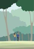 Promenade de personnes dans la forêt Photo stock