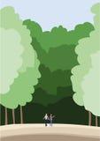 Promenade de personnes dans la forêt Image stock