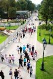 Promenade de personnes dans le jardin d'Akexander à Moscou Arbres verts et herbe verte Photo libre de droits