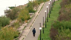 Promenade de personnes le long de la promenade banque de vidéos
