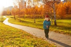Promenade de petit garçon en parc d'automne Photos libres de droits