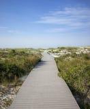 Promenade de plage de la Floride par des dunes Images stock