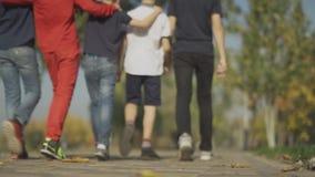 Promenade de société de garçons au parc s'étreignant les amis passent le temps ensemble banque de vidéos