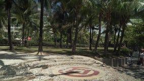 Promenade de touristes avec des palmiers sur la vidéo de longueur d'actions de plage de Dadonghai banque de vidéos