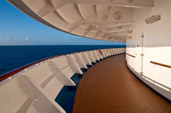 Promenade deck of a cruise ship. With sea and sky. There are no people Royalty Free Stock Photography