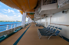 Promenade Deck with Life Boats and lounge chairs Royalty Free Stock Image