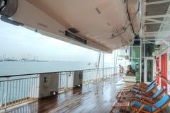 Promenade Deck, Super Star Virgo. The deck on the Promenade deck of the Super Star Virgo cruise ship Royalty Free Stock Photo