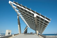 Promenade deck under a solar power station Stock Image