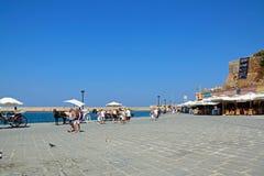 'promenade' del puerto, Chania imagen de archivo libre de regalías