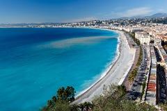 Promenade des Anglais και όμορφη παραλία στη Νίκαια Στοκ Εικόνες