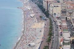 Promenade des Anglais, Νίκαια, πόλη, ακτή, θάλασσα, παράκτια και ωκεάνεια landforms Στοκ Φωτογραφίες
