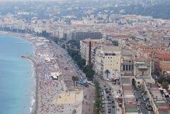 Promenade des Anglais, Νίκαια, πόλη, αστική περιοχή, αεροφωτογραφία, θάλασσα Στοκ Φωτογραφίες