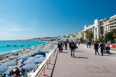 Promenade des Anglais στη Νίκαια, Γαλλία Στοκ Φωτογραφίες