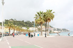 Promenade des Anglais στη Νίκαια (Γαλλία) Στοκ εικόνα με δικαίωμα ελεύθερης χρήσης