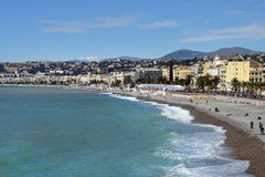 Promenade des Anglais and the beach in Nice Stock Photos