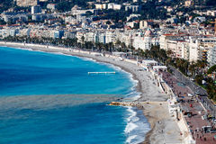 Promenade des Anglais and Beautiful Beach in Nice Royalty Free Stock Images