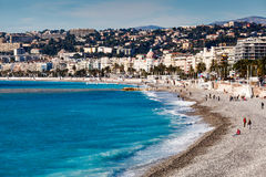 Promenade des Anglais and Beautiful Beach in Nice Royalty Free Stock Image