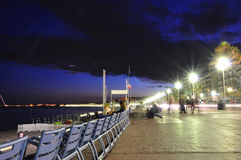 Promenade des Anglais bij nacht Royalty-vrije Stock Foto