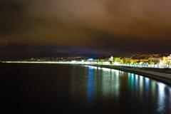 Promenade des Anglais bij nacht, Franse Riviera Royalty-vrije Stock Afbeelding