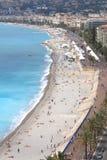 Promenade des Anglais längs den franska Riviera kusten i Nice Arkivfoton