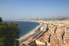 Promenade des Anglais - Nice. Panoramic view of promenades des anglais in Nice, South of France Stock Images