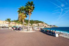 Promenade des Anglais in Nice. The Promenade des Anglais is a promenade along the Mediterranean at Nice city, Cote d\'Azur region in France royalty free stock image